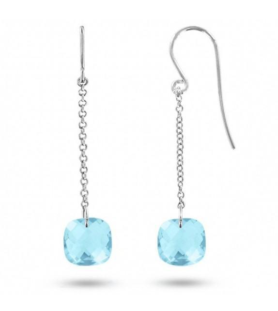 Boucles d'oreilles pendantes Or blanc 750/00 et topazes bleues taille coussin