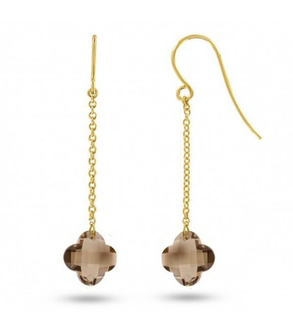 Boucles d'oreilles pendantes Or jaune 750/00 et quartz fumés taille fleur