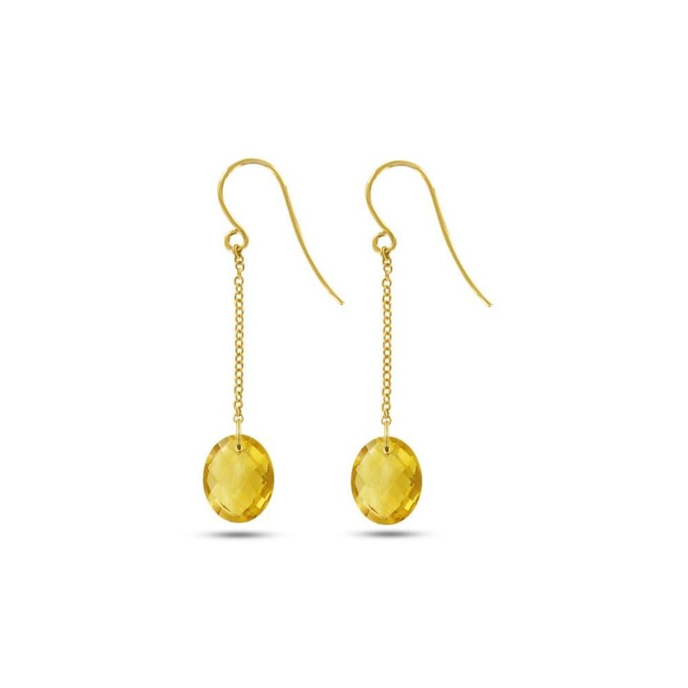 Boucles d'oreilles pendantes Or jaune 750/00 et citrines taille ovale