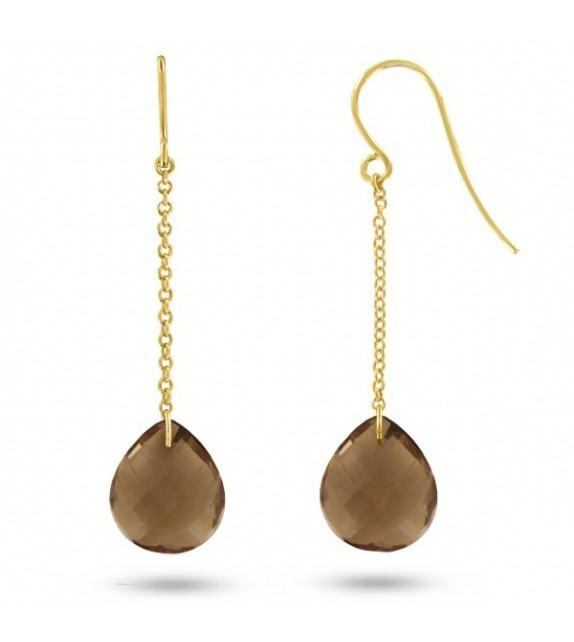 Boucles d'oreilles pendantes Or jaune 750/00 et quartz fumés taille poire