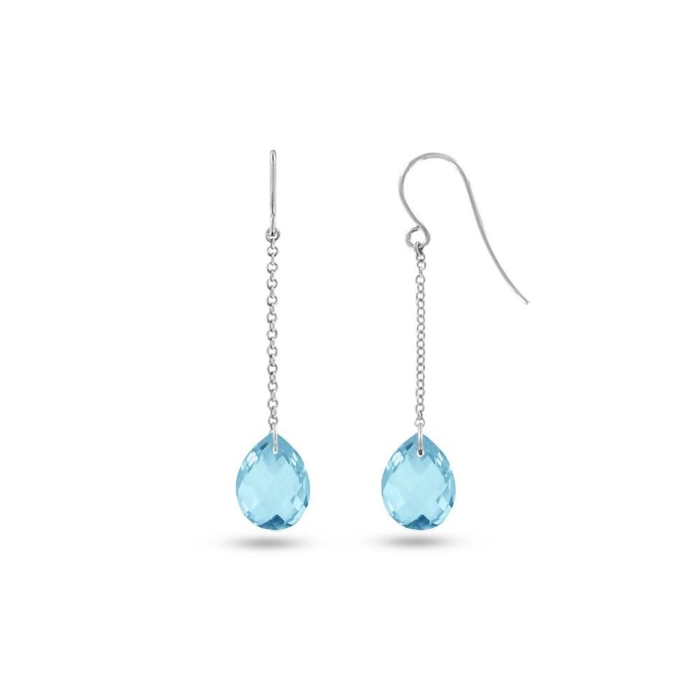 Boucles d'oreilles pendantes Or blanc 750/00 et topazes bleues taille poire