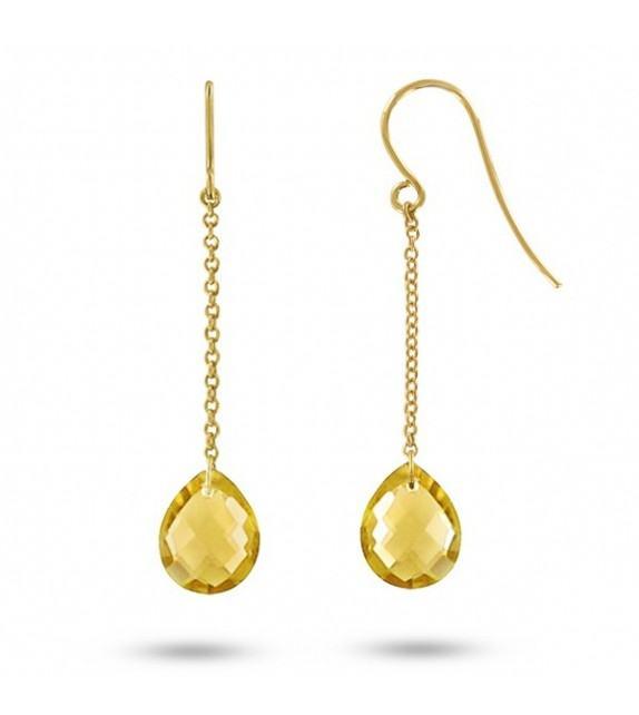 Boucles d'oreilles pendantes Or jaune 750/00 et citrines taille poire