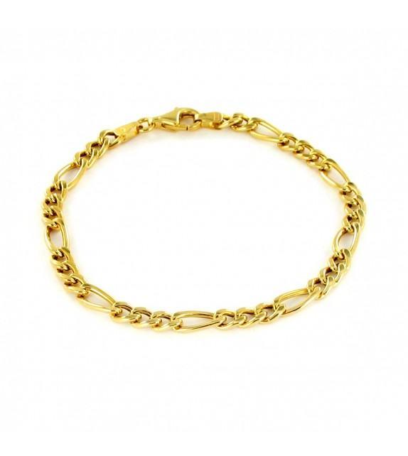 Bracelet maille alternée 1+3 or jaune 375/00