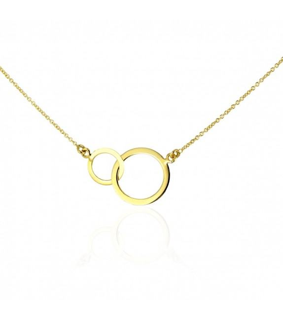 Collier double anneau or jaune 375/00