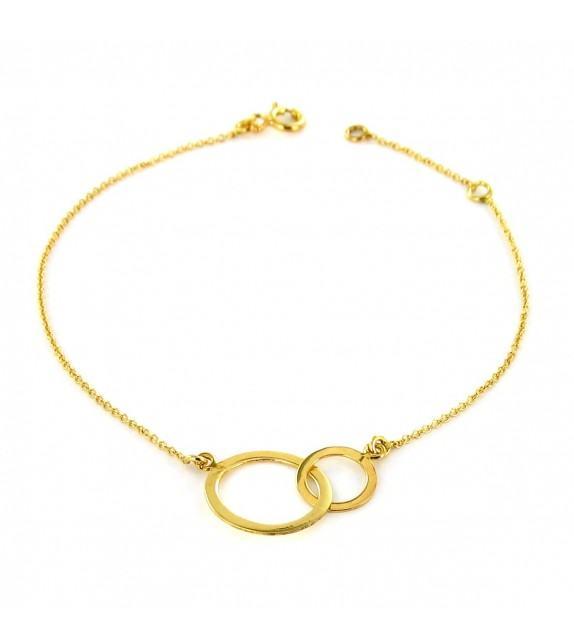 Bracelet double anneau or jaune 375/00