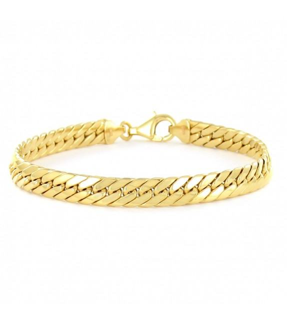Bracelet maille gourmette limée or jaune 375/00