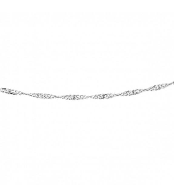 Collier maille Singapour or blanc 375/00