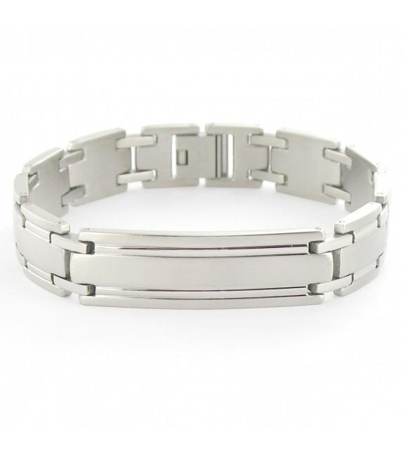 Bracelet articulé acier plaque identité