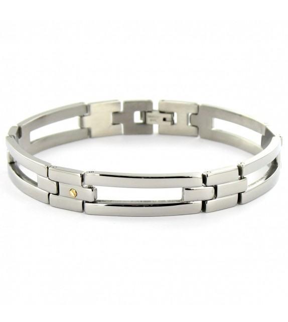 Bracelet articulé acier et vis en Or 750/00
