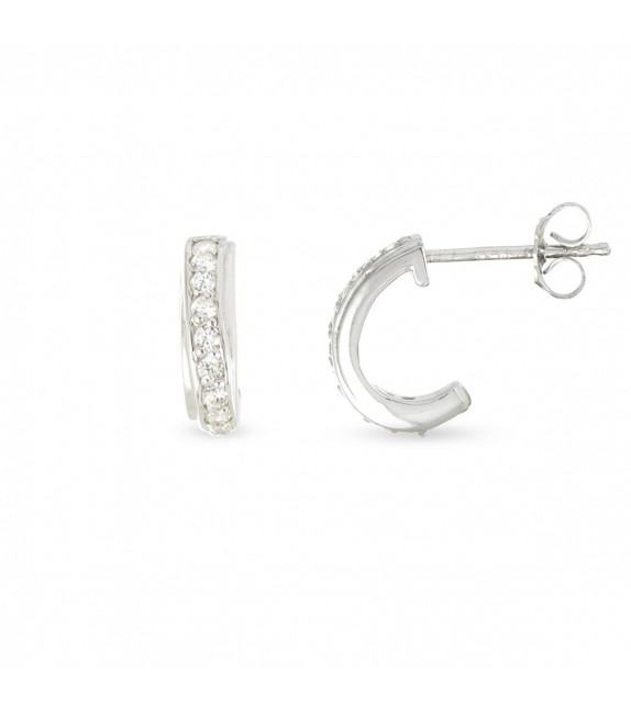Boucles d'oreilles demi créoles Argent 925/00 et zircons