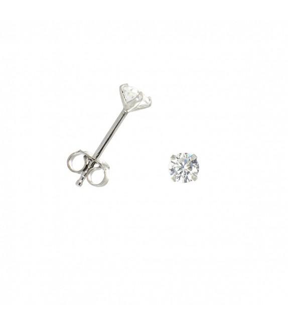 Boucles d'oreilles puces zircon 3mm Argent 925/00