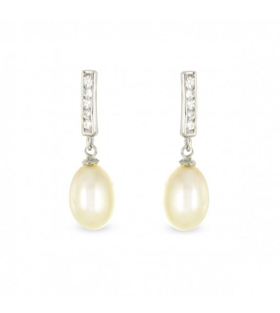 Boucles d'oreilles perles de culture et zircon Argent 925/00