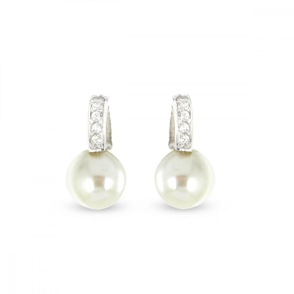 Boucles d'oreilles Argent 925/00 shell perles blanches et zircons