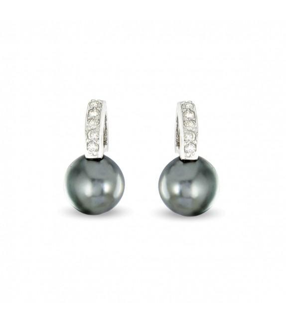 Boucles d'oreilles Argent 925/00 shell perles noires et zircons