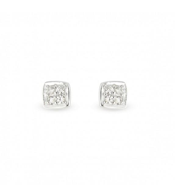 Boucles d'oreilles carrées Argent 925/00 et zircons
