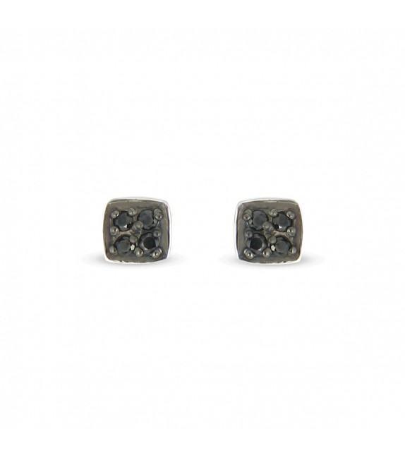 Boucles d'oreilles zircon noir Argent 925/00