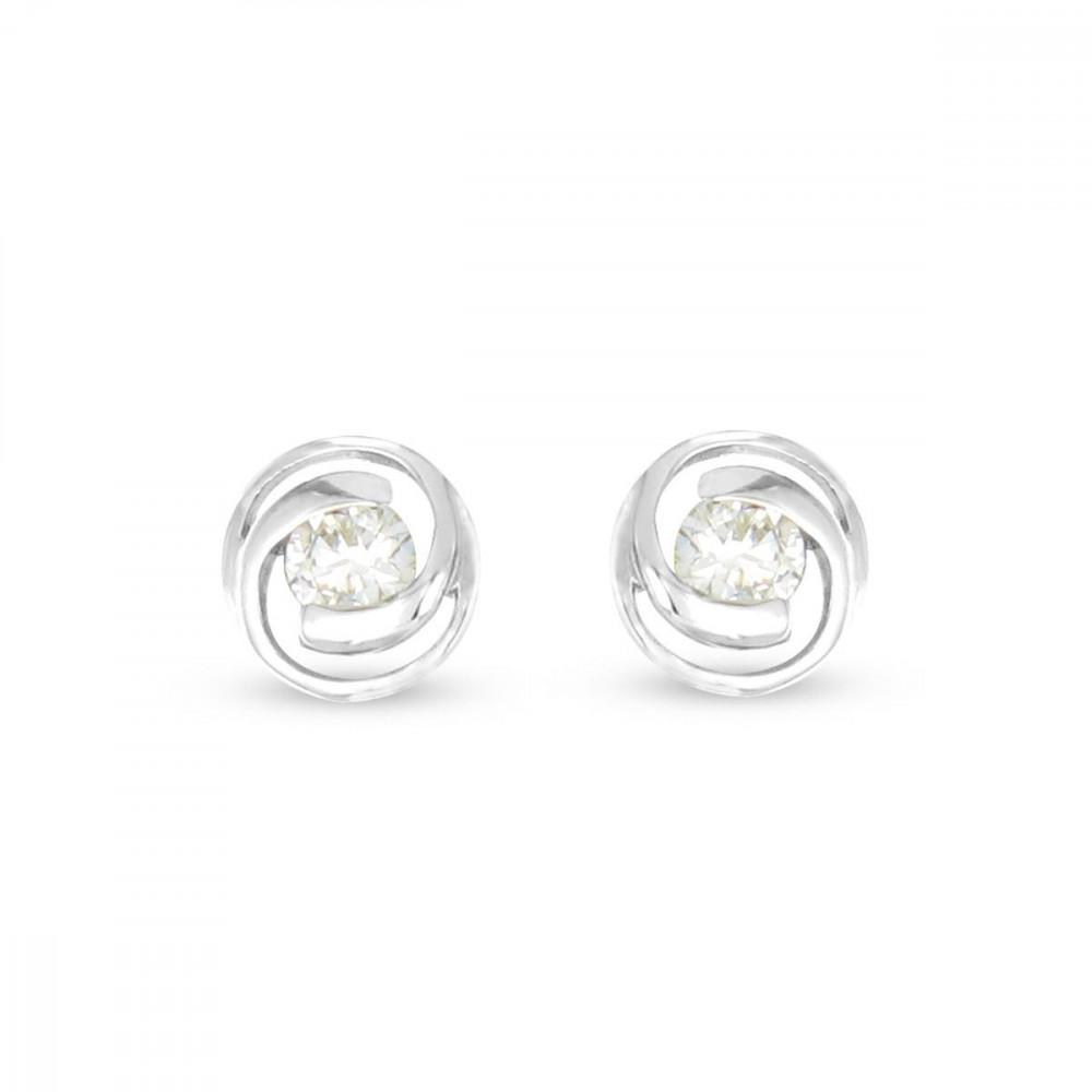 Boucles d'oreilles spirales Argent 925/00 et zircons