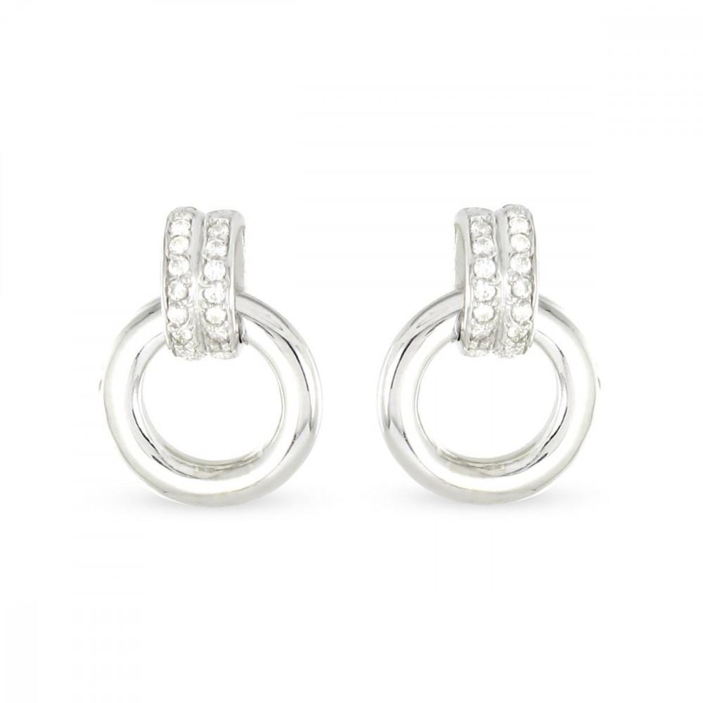 Boucles d'oreilles anneaux Argent 925/00 et zircons