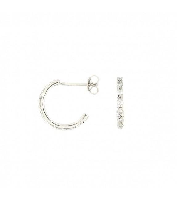 Boucles d'oreilles créoles 14mm Argent 925/00 et zircon