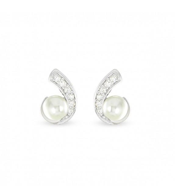 Boucles d'oreilles Argent 925/00 shell perles blanches et zircon