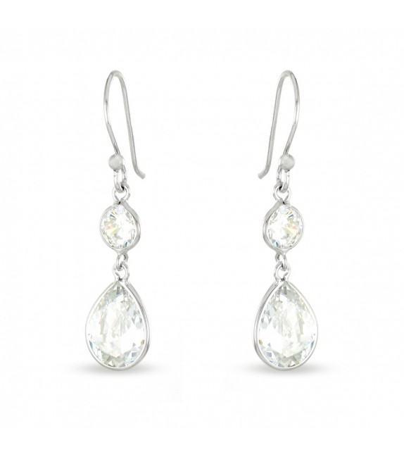 Boucles d'oreilles pendantes Argent 925/00 et zircons
