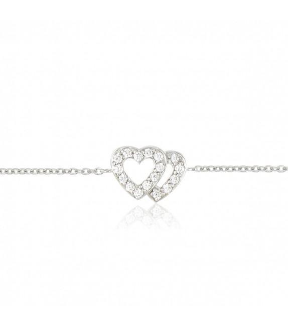 Bracelet coeurs en Argent 925/00 et oxydes de zirconium