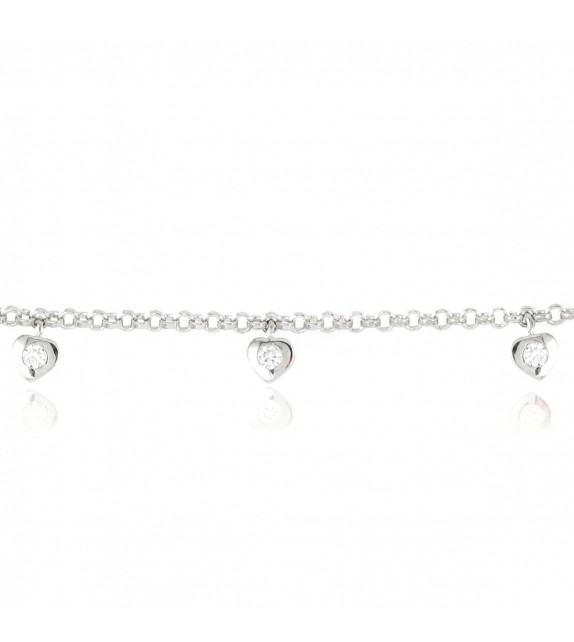 Bracelet pendentifs coeurs en Argent 925/00 et oxyde de zirconium