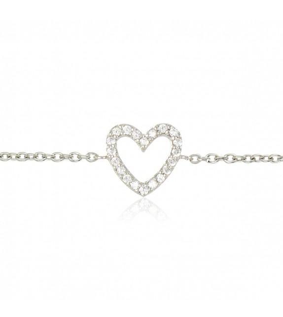 Bracelet coeur en Argent 925/00 et oxydes de zirconium