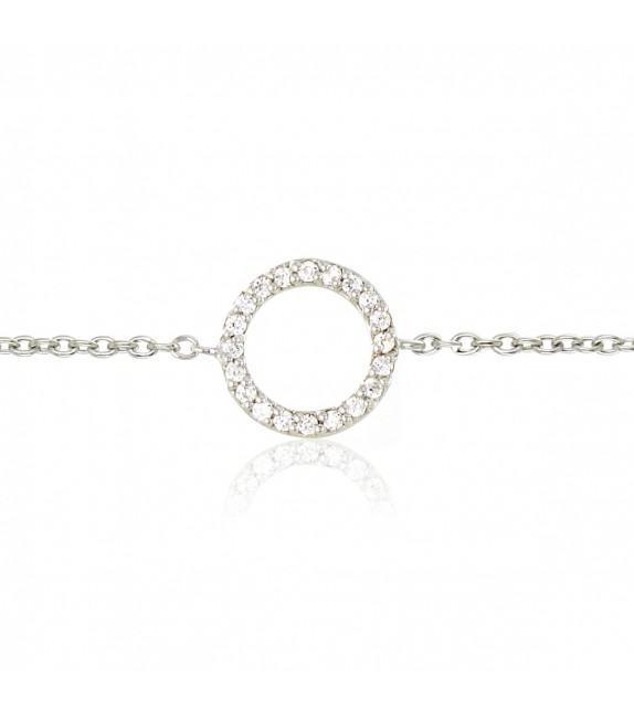 Bracelet anneau avec oxydes de zirconium en Argent 925/00