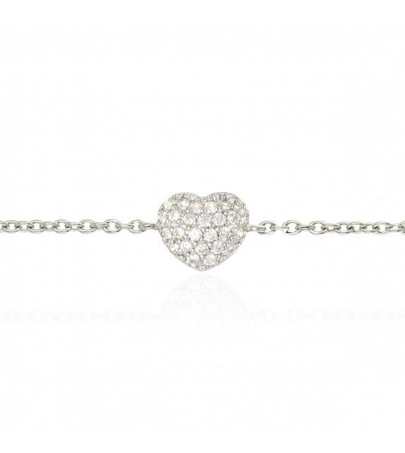 Bracelet coeur pavé en Argent 925/00 et oxydes de zirconium