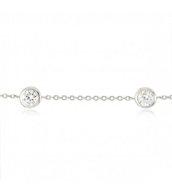 Bracelet douilles rondes serties clos en Argent 925/00 et oxydes de zirconium