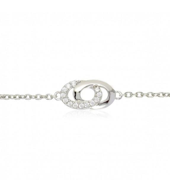 Bracelet double anneaux en Argent 925/00 et oxydes de zirconium