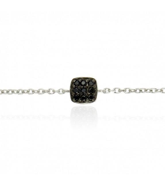Bracelet pièce pavée avec oxydes de zirconium noir et en Argent 925/00
