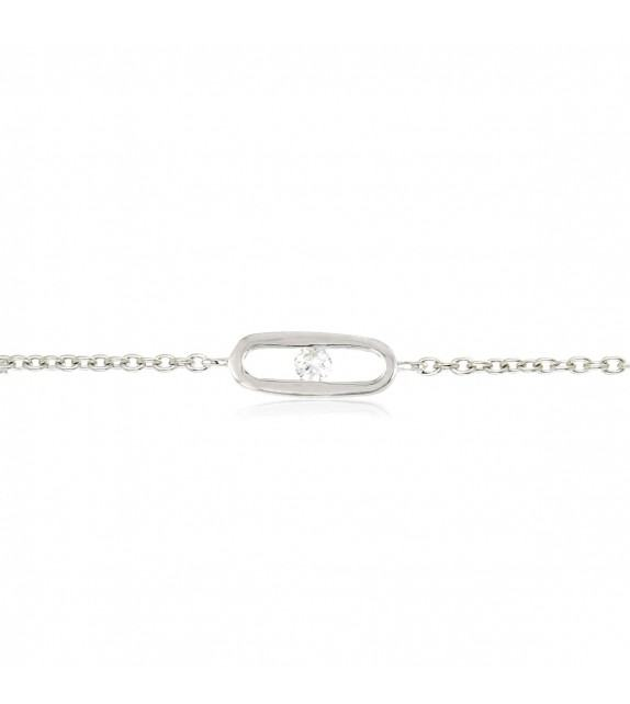 Bracelet strass serti dans barrette en Argent 925/00 et oxydes de zirconium
