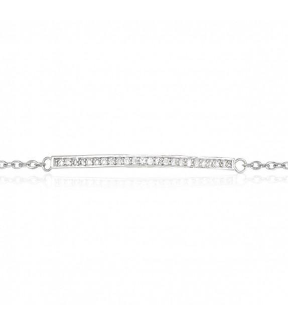 Bracelet ligne strass en Argent 925/00 et oxydes de zirconium