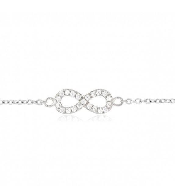Bracelet infini en Argent 925/00 et oxydes de zirconium