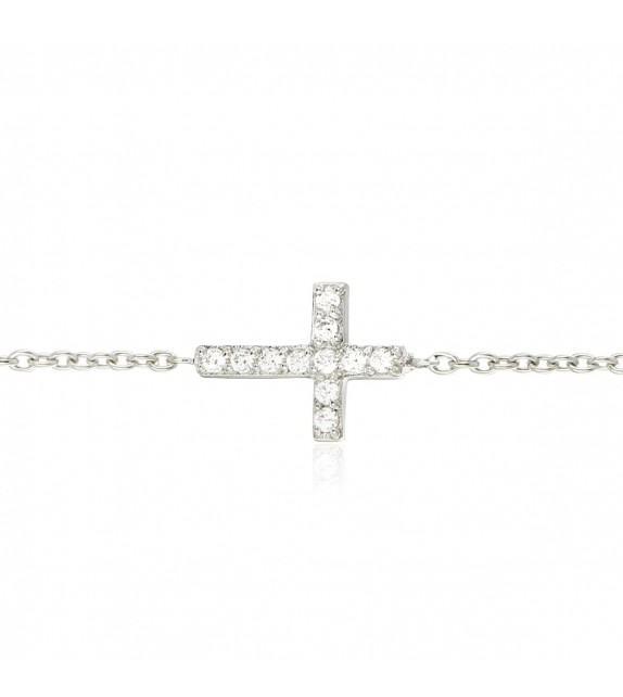 Bracelet croix en Argent 925/00 et oxydes de zirconium