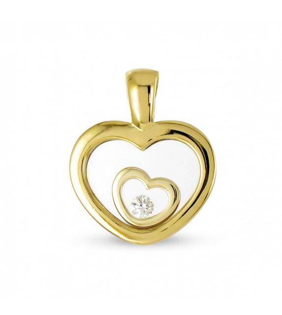 Pendentif coeur en Or 750/00 et diamant libre
