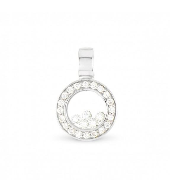 Pendentif rond en Or 750/00 et diamants libres