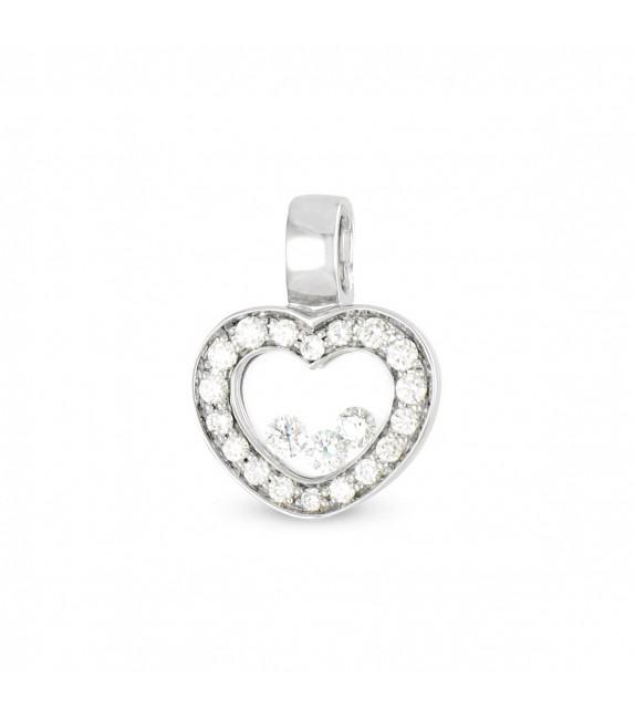 Pendentif coeur en Or 750/00 et diamants libres