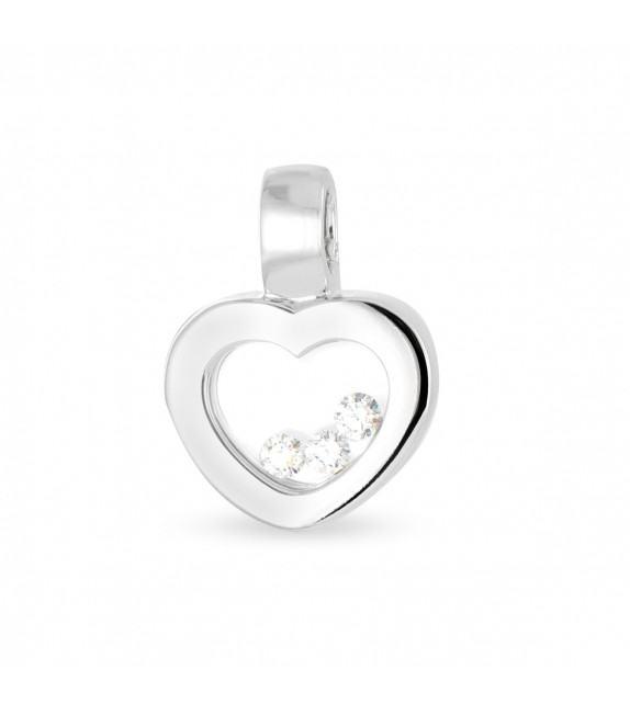 Pendentif cœur en Or 750/00 et diamants libres