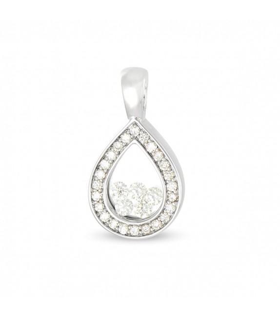 Pendentif goutte en Or 750/00 et diamants libres