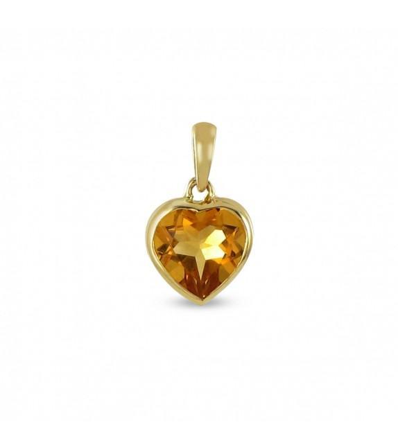 Pendentif coeur de citrine Or 750/00
