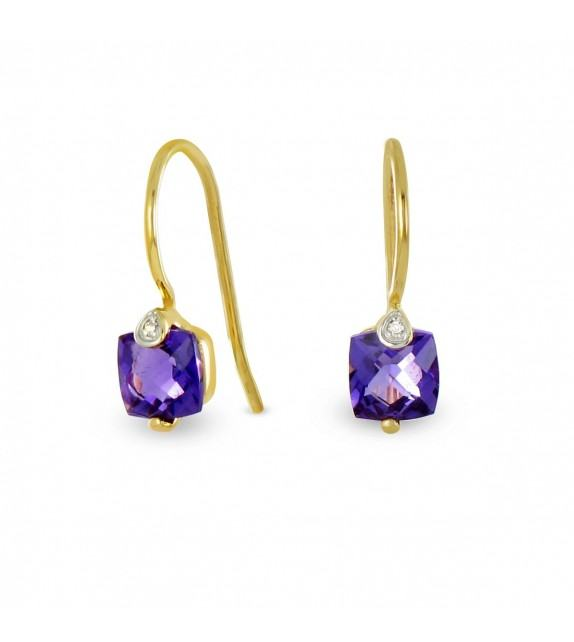 Boucles d'oreilles améthystes et diamants en Or 750/00