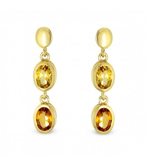 Boucles d'oreilles pendentes citrines en Or 750/00