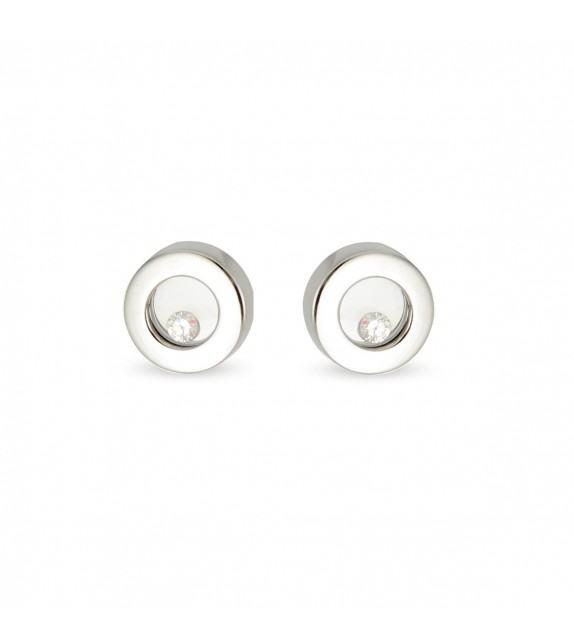 Boucles d'oreilles rondes en Or 750/00 et diamants libres
