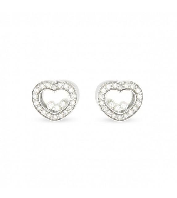Boucles d'oreilles cœur en Or 750/00 et diamants libres