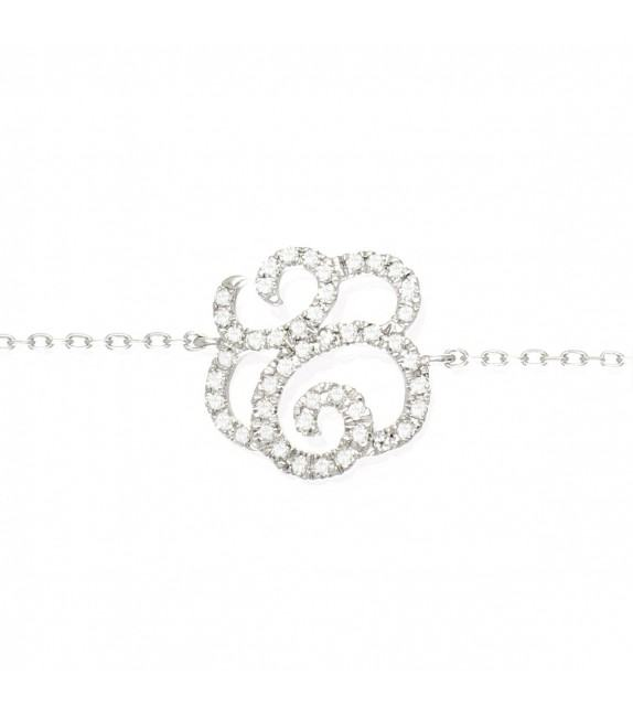 Bracelet fleur en Or 375/00 et diamants