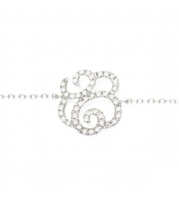 Bracelet fleur en Or 375/00 et diamants