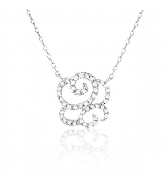 Collier fleur en Or 375/00 et diamants